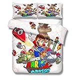 ROMOO 3D Super Mario Bros - Juego de Funda de edredón y 2 Fundas de Almohada para niños y niñas, 3 Piezas, 1 Funda de edredón con 2 Fundas de Almohada, Moderno, Style 5, King(3pcs)