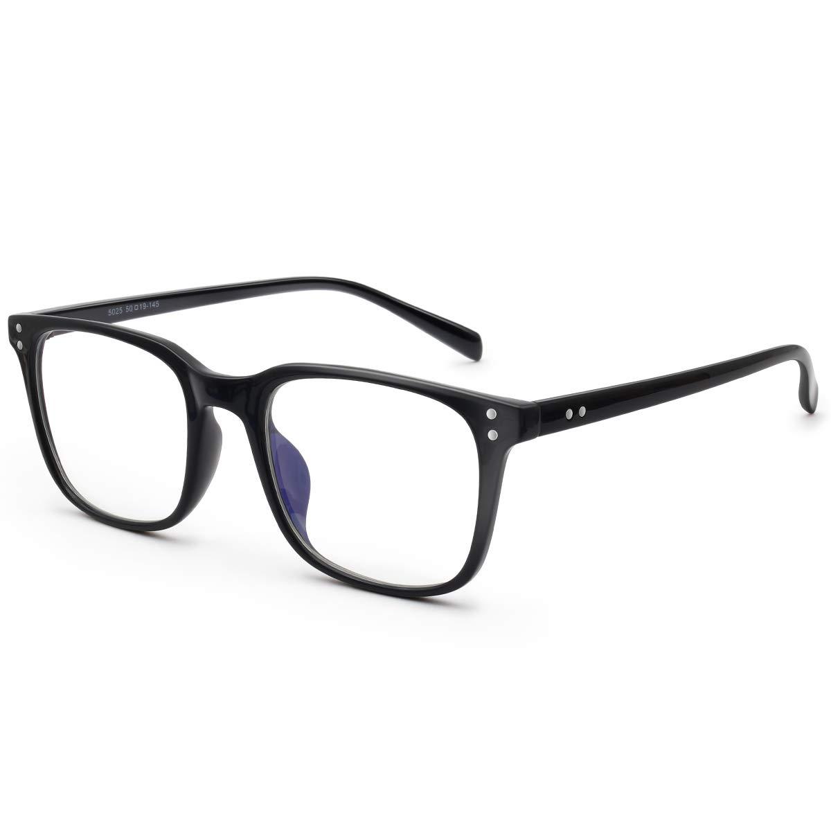 Livho Blue Light Blocking Glasses Filter Blue Ray Computer Game Glasses for Women Men Square Eyeglasses TR90 Frame [Anti Eyestrain, Reduce Headache & Better Sleep] - 0.0 Magnification