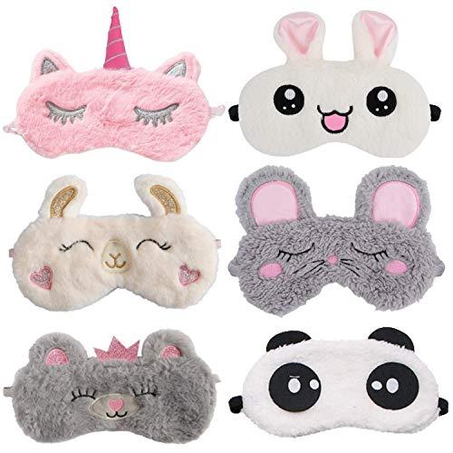 Kids Sleep Mask,Kapmore 6 Pack Animal Sleeping Mask Soft Plush Blindfold Eyeshade Cute Rabbit Panda Bear Alpaca Mouse Unicorn Eye Covers Eye Mask for Girls Women Kids Favor
