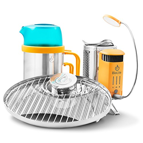 BioLite CampStove 2 Bundle Includes Wood Burning Small Lightweight CampStove 2, USB FlexLight, 2600 mAh Powerbank, Portable Grill and KettlePot Attachments , Silver/Yellow/Aqua (CSX2001)