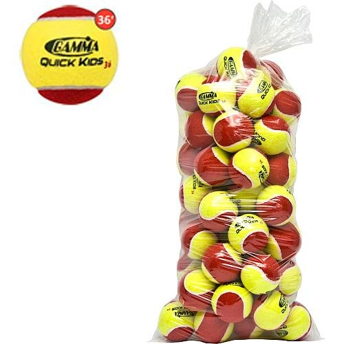 Gamma Sports Kids Training (Transition) Balls, Yellow/Red, Quick Kids 36, 60-Pack