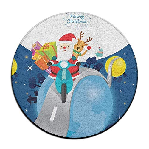 - Santa Claus Riding Motorcycle Soft Coral Velvet Circular General Purpose Floor Mat Or Rug Use in Front of Bedroom, Kitchen,Vanity, Bath Tub, Living Room and Toilet