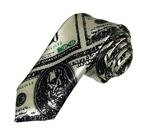 Fashion Ties By Outer Rebel Outer Rebel Dollar Money Skinny Tie, Green