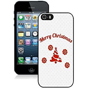 Fashionable Custom Designed iPhone 5S Phone Case With Simple Merry Christmas Message_Black Phone Case