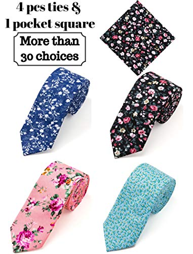 Elzama 5-pc Cotton Skinny Floral Print Tie Pocket Square Set for Special Event, Party, - Flower Skinny