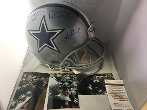 Emmitt Smith Troy Aikman Michael Irvin Autographed Signed Dallas Cowboys Pro Line Authentic Full Size Helmet JSA WITNESSED GTSM Player Holograms & COA Cards W/Photos VERY RARE (Autographed Authentic Pro Line Helmet)