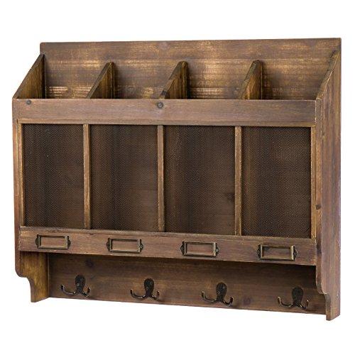 skalny 8468366x 13,3x 55,9cm rectángulo madera estantería de pared w/ganchos