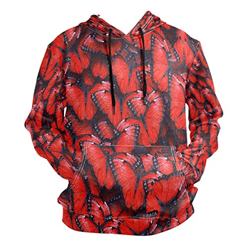 Red Butterfly Hoodie 3D Pullover Hooded Long Sleeve Workout ()