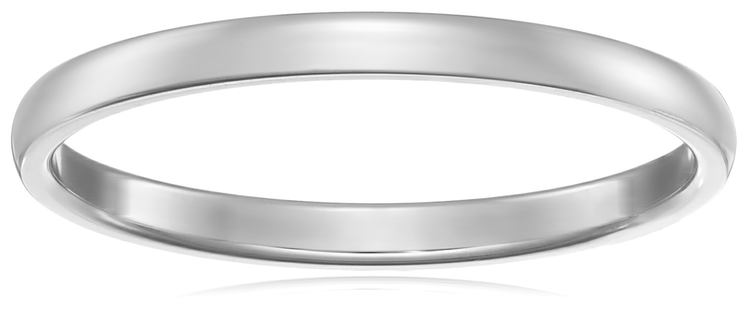 Classic Fit 14K White Gold Band, 2mm, Size 8.5
