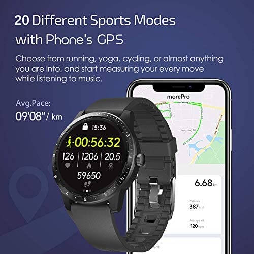 MorePro Smart Watch 20 Sport Modes Fitness Tracker Health Watch Body Temperature, Activity Tracker with Heart Rate Blood Pressure Sleep Monitor, IP68 Waterproof Smartwatch for Women Men 5