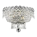 Worldwide Lighting Empire Collection 2 Light Chrome Finish and Clear Crystal Wall Sconce 12'' W x 8'' H Medium