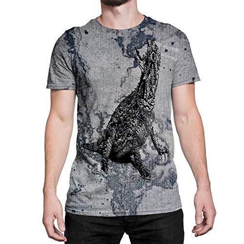 (Idakoos Animal Texas Horned Lizard 3D - Men T-Shirt Polyester L)