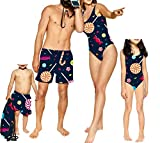Mommy and Me Candy One Piece Swimsuits, Father and Son Matching Swim Trunks Family Bathing Suits (7-8 Years, Daughter-Swimwear)