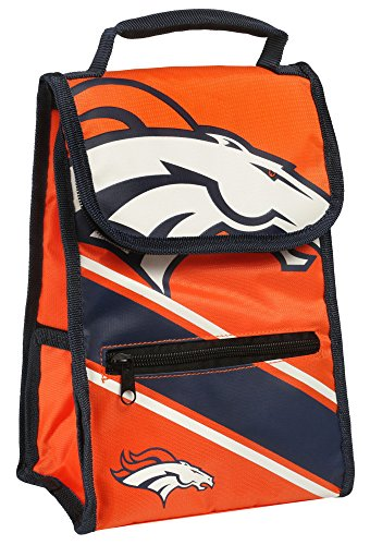 Broncos Lunch (Denver Broncos NFL Football Convertible Cooler Lunch Bag with External Zipper Pouch)
