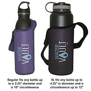 Water Vault Deluxe Neoprene Bottle Holder, Adjustable Detachable Strap, Shoulder Sling & Hand Carrier Available in 2 Sizes: Regular & XL (Asstd. Colors, XL fits 40oz Hydro Flask Type Bottle)