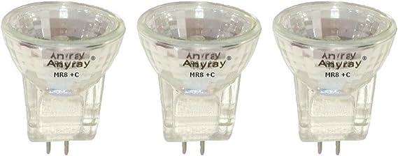 MR8 C 6V 5-Watt Flood Halogen light Bulbs 5W 6-Volts Anyray A2011Y 3-Bulbs