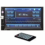 Morrivoe Double Din Bluetooth 7'' Inch TFT HD Touch Screen In Dash Vehicle Car Stereo MP3/MP5 Player with USB/SD/AUX Input FM Radio Microphone Remote Control Hands-free Calls
