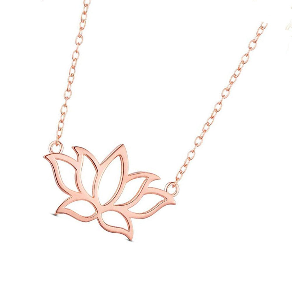 Mmiiss Lotus Flower Pendant Necklace 925 Sterling Silver For Women