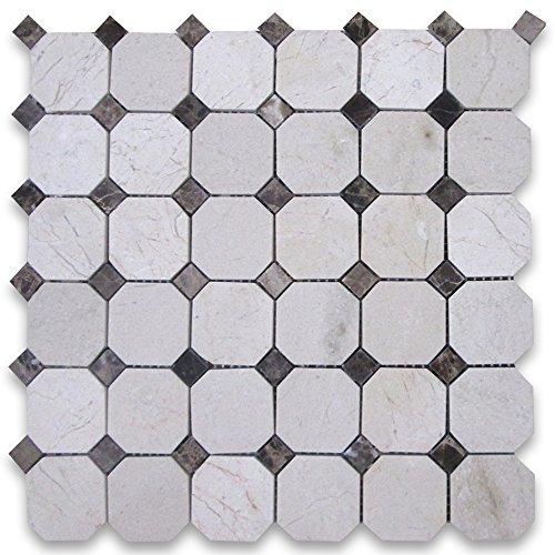 Crema Marfil Marble 2 inch Octagon Mosaic Tile w/ Emperador Dark Dots Polished