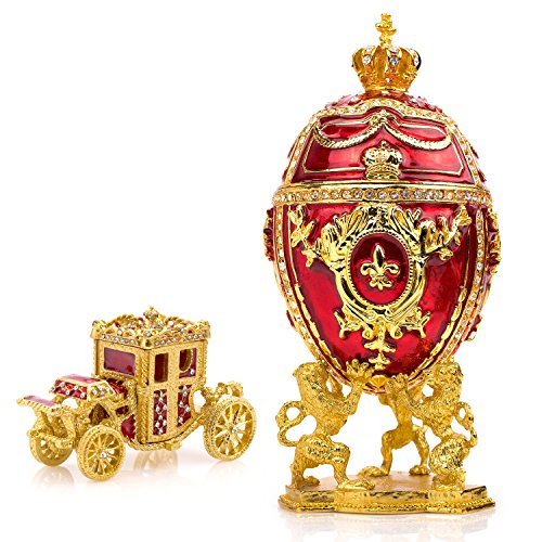 Unique, Decorative Red Faberge Egg: Extra Large 6.6