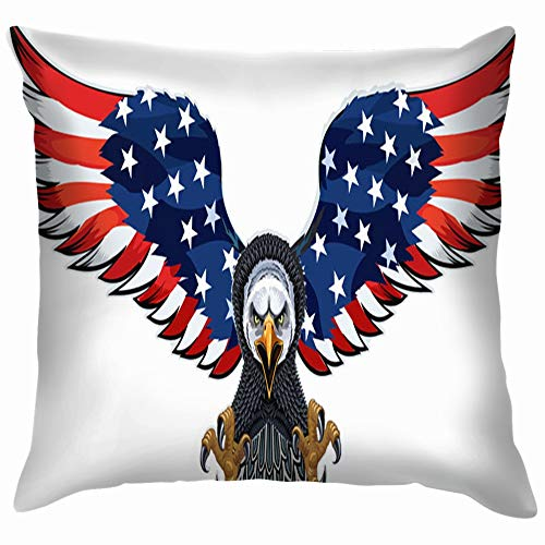 American Eagle USA Flags Animals Wildlife Throw Pillows Covers Accent Home Sofa Cushion Cover Pillowcase Gift Decorative 18X18 Inch