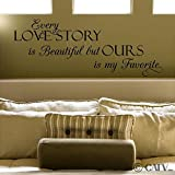 (12.5×30) Every Love Story Is Beautiful But Ours Is My Favorite (M) vinyl lettering decal home decor wall art saying sticker quote (Black)