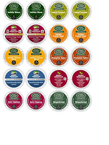 UPC 742415005507, Four Seasons Of Green Mountain Seasonal Selection K Cups Variety Bundle- 10 Different Flavors (20 Count) Including Island Coconut, Spicy Eggnog, Pumpkin Spice and More!
