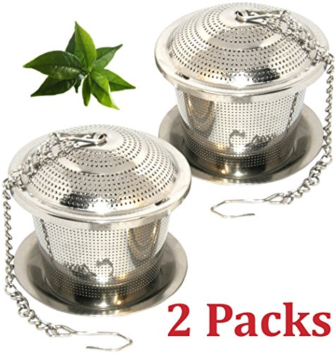 Loose Leaf Tea Infuser Set of 2 (M Sizes) + Drip Trays,Food Grade 304 Stainless Steel Strainer & Steeper can be used as Tea/Herbal/Spice Filter for Cup, Mug, Teapot