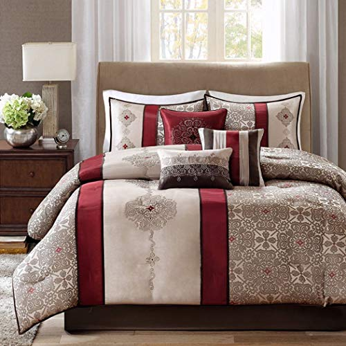 7 Piece Burgundy Beige Embroidered Medallion Comforter Queen Set, Red Brown Striped Adult Bedding Master Bedroom Stylish Jacquard Pieced Pattern Elegant Themed Traditional, Polyester