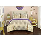 Purple and Gold Comforter Set 7 Piece Girls Gold Purple Heart Stripes Pattern Comforter Set FULL SIZED, Beautiful All Over Love Hearts Print, Boho Friendly Fun Design, Polka Dots Printed Reversible Bedding, Vibrant Colors For Kids