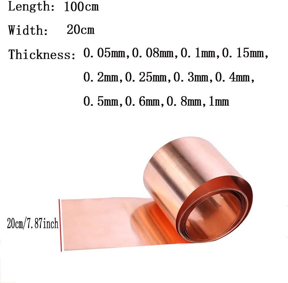 Longueur 1000 mm Thickness: 0.05 mm a/érospatiaux Largeur 200 mm SOFIALXC Feuille de m/étal en cuivre Pur /à 99,99/% pour travaux manuels