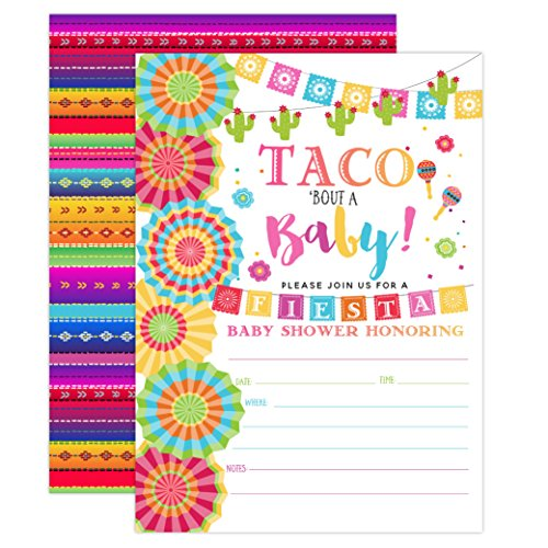 (Fiesta Baby Shower Invitation, Taco Baby Shower, Taco Bout A Baby Shower Invite, Fiesta Invitation, 20 Fill in Invitations and Envelopes)