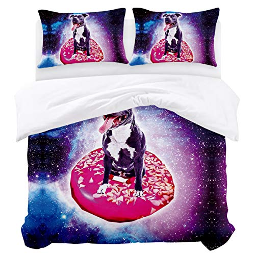 Duvet Cover Set,3 Pieces Ultra Soft Luxury Lightweight Microfiber Comforter Quilt Bedding Cover with Zipper Closure, Ties - Dog Sitting in Donut Full Size (Best Donuts In Columbus)