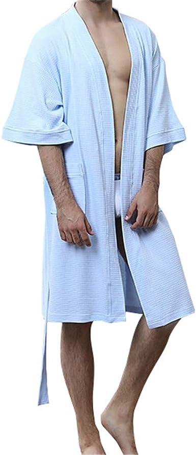 GODGETS Hombre Batas Kimono Mujer Algodón con Cinturón 3/4 Hombregas Pijama Corto Ropa de Dormir Suave: Amazon.es: Ropa y accesorios