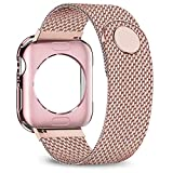 jwacct Compatible for Apple Watch Band with Screen Protector 38mm 40mm 42mm 44mm, Soft TPU Frame Case Cover Bumper Compatible for iwatch Series 1/2/3/4/5 Pink Gold Reviews