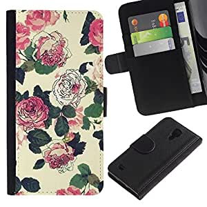 KingStore / Leather Etui en cuir / Samsung Galaxy S4 IV I9500 / Flores Wallpaper Rosa Verde Beige