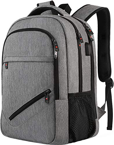 Laptop Backpack,Business Travel Laptop Backpack with USB Charging Port for Men Womens, Anti-Theft Water Resistant College School Bookbag Computer Backpack Fits 15.6 Inch Laptop & Notebook -Grey