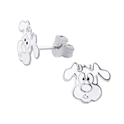 Katy Craig - Small White Dog Sterling Silver Stud Earrings IqCYIKW