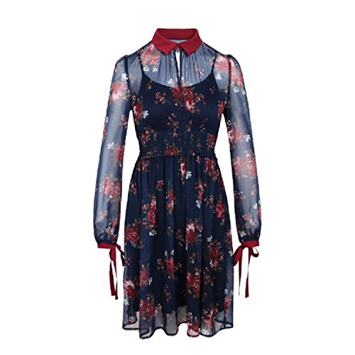 Down Out Printed Women Collar Spring Dark Sexy Long Mini Blue Turn Floral Short Sleeve Coolred Hollow Dress UYxtccg
