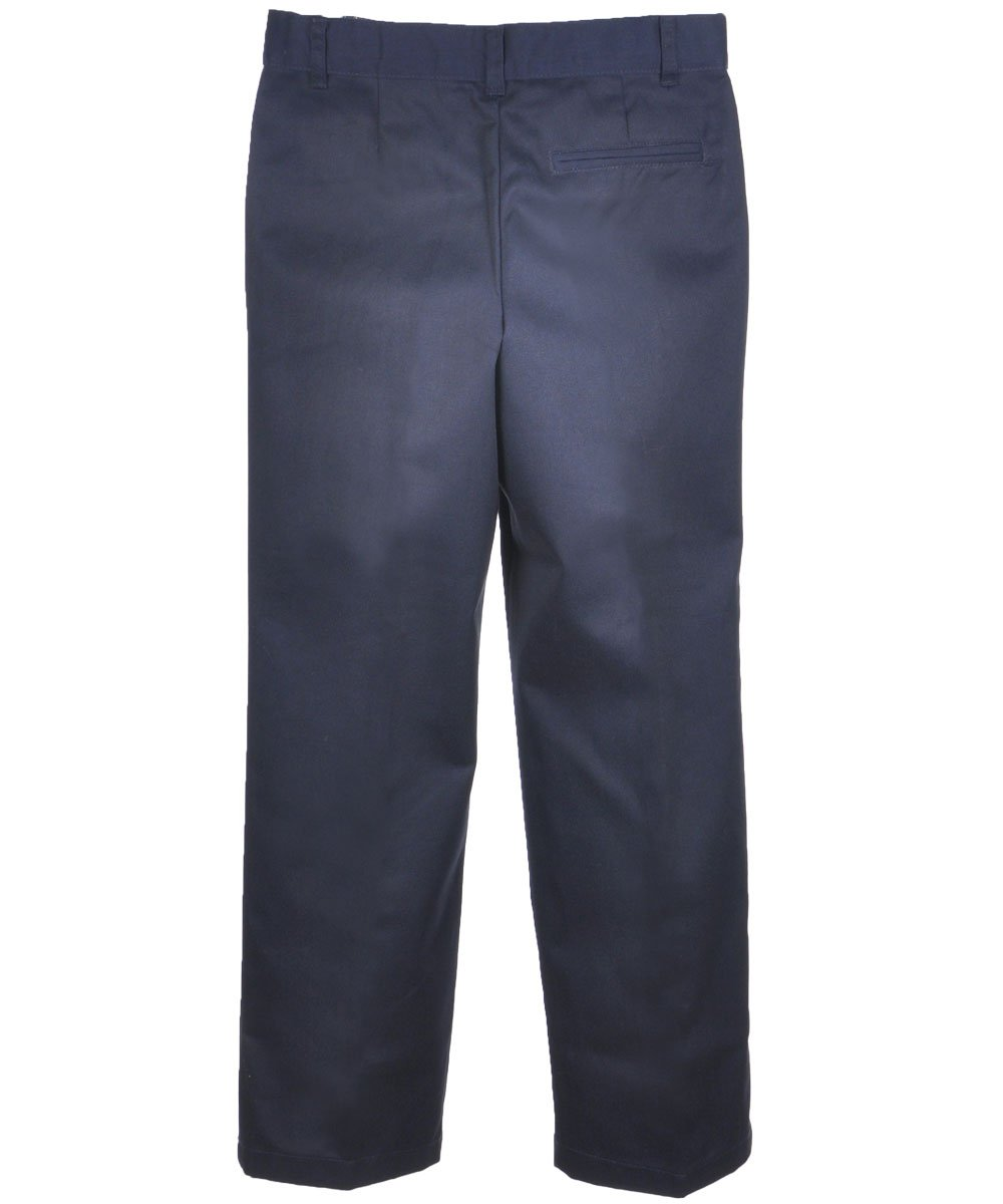 French Toast Big Boys' Flat Front Wrinkle No More Double Knee Pants - navy, 20 by French Toast (Image #1)