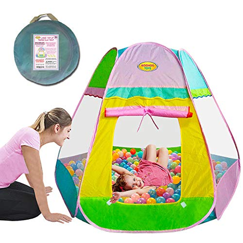 WooHoo Toys Large Hexagon Kid Play Tent - Premium Pop Up Toy for Boys & Girls, Spacious Playhouse in Pastel Baby Colors, Can Even Be Used as Ball Pit, Safe for Children to Use Indoors & Outdoors