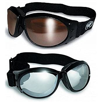 8870c34846 (2 Goggles) Motorcycle ATV Riding Clear Mirror and Driving Mirror Glasses  Sunglasses