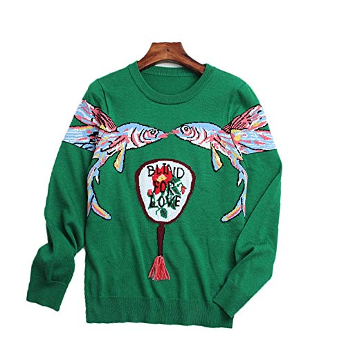 NEW Automne Dbut Nouveau Pull Femme Poissons Jacquard Fan Jacquard Col Rond Pull (Color : Green, Size : S) Green