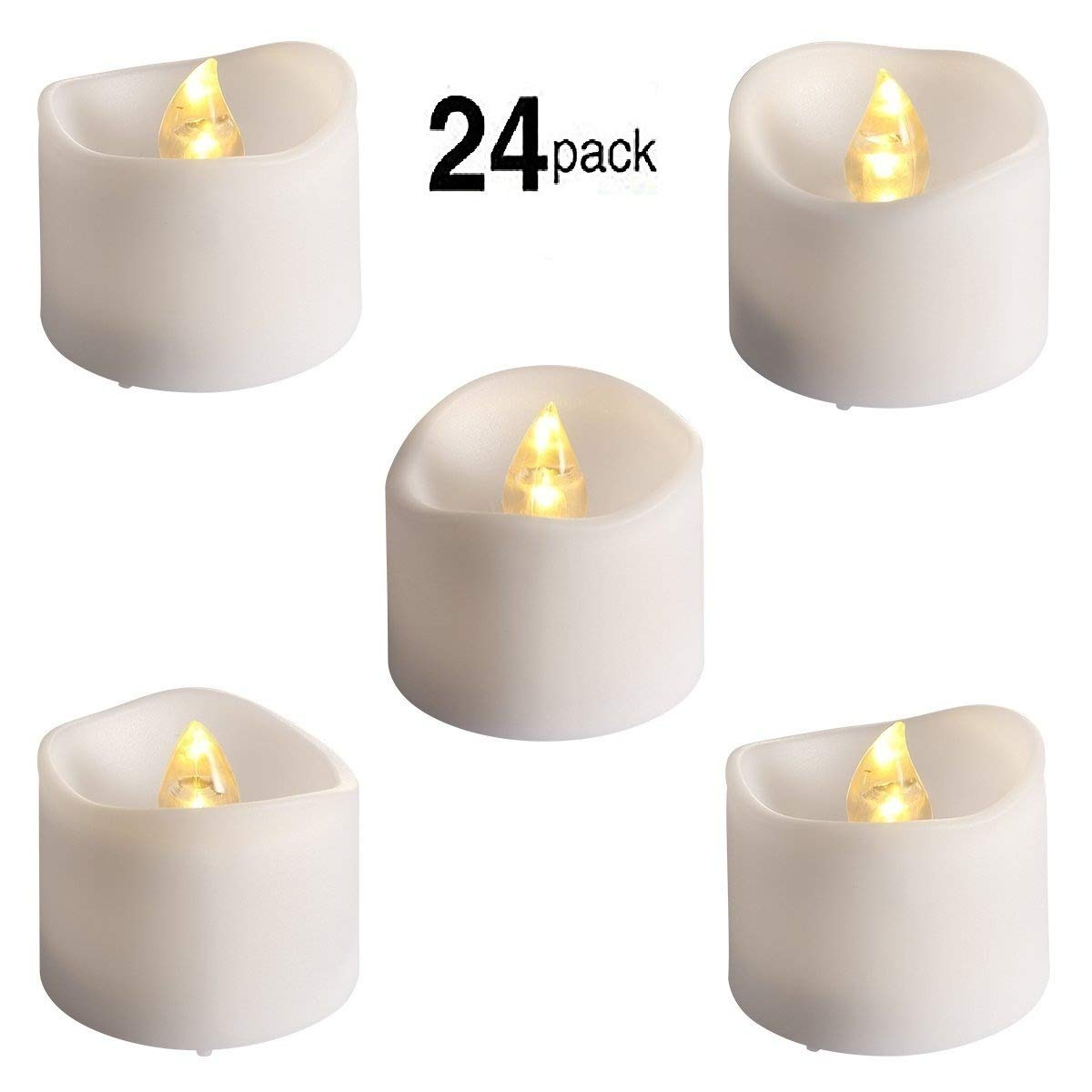 24 Pcs Flameless Led Tealights Electric Bulb Battery Operated Realistic and Bright Flickering Fake Candles for Seasonal & Festival Celebration,Warm White and Wave Open by Good Electonic