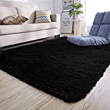 Junovo Ultra Soft Contemporary Fluffy Indoor Area Rugs, Home Decor Rug Mats Living Room Bedroom Floor Carpet Rugs (4x5.3 Feet, Black)