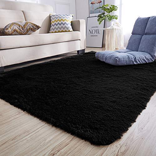 Junovo Ultra Soft Contemporary Fluffy Indoor Area Rugs, Home Decor Rug Mats Living Room Bedroom Floor Carpet Rugs (4x5.3 Feet, Black)