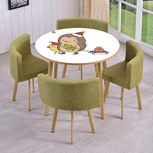 iPrint Round Table/Wall/Floor Decal Strikers/Removable/Cartoon Hedgehog with Bird and a Christmas Tree Pulling Sled Holiday Themed Image/for Living Room/Kitchens/Office -