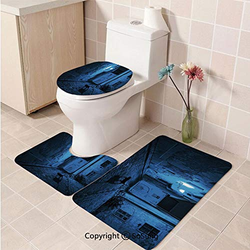 3pcs/Set Urban Style Soft Comfort Flannel Toilet Mat,Black Cat Crossing Deserted Street at Night Mysterious Old European Town Alley,Plush Bathroom Decor Mat with Non Slip Backing,Blue Black White