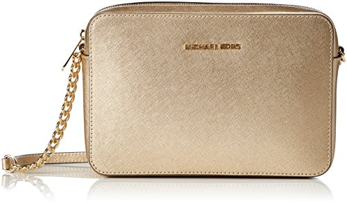 Michael Kors Women's Jet Set Large Metallic Leather Crossbody Bag, Pale Gold, OS