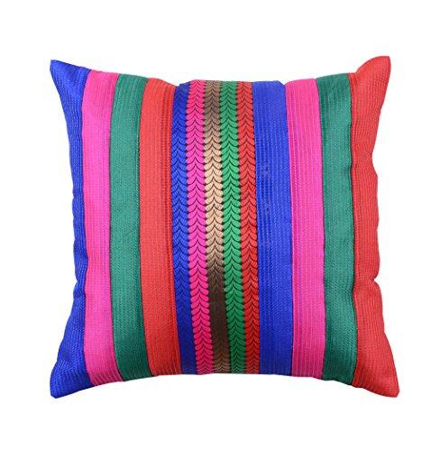 meSleep Brocade Dupion Silk Cushion Covers Multicolor Stripe Patter Zipper Sofa Throw Pillow Case 12